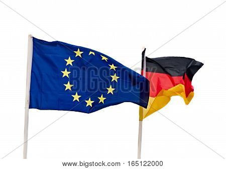 The European Union blue flag with Germany flag wave