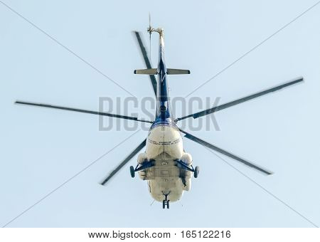 Bucharest, Romania - July 19, 2015. The Aviation Day Near Aviators Statue. Helicopter In The Air.