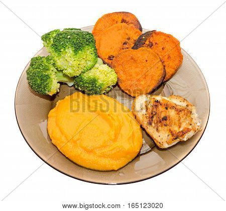 Transparent Plate With Fresh Green Broccoli, Smashed Sweet Potatoes And Slice Of Orange Sweet Potato