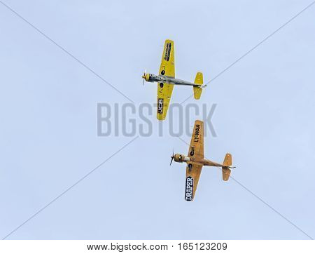 Bucharest, Romania - September 5, 2015. Aerobatic Airplane Pilots Training In The Sky Of The City. C
