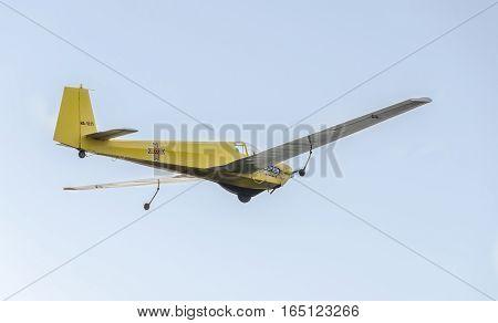 Bucharest, Romania - September 5, 2015. Aerobatic Motorplane (sailplane) Pilot Training In The Sky O