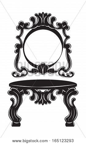Vintage Baroque Imperial Dressing Table and Mirror set. French Luxury rich carved ornaments decor. Vector Victorian exquisite Style furniture