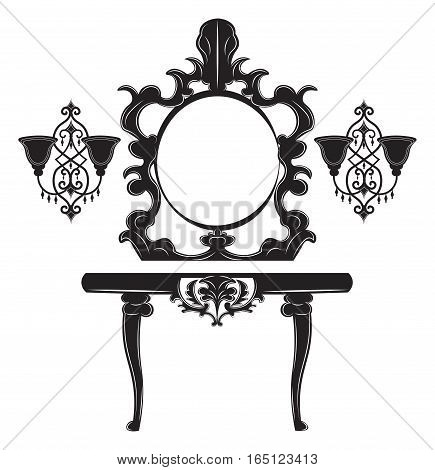 Vintage Baroque Imperial Dressing Table and Mirror set. French Luxury rich carved ornaments decor. Vector Victorian exquisite Style furniture and wall lamps poster