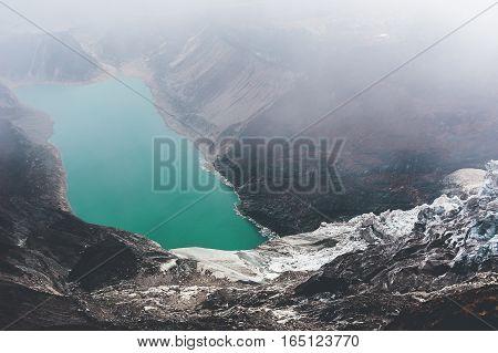 Mountain lake in Nepal, Manaslu. Cloudy weather