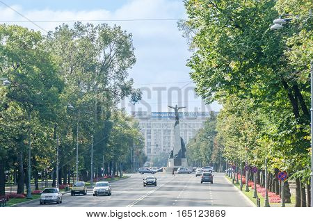 Bucharest, Romania - September 19, 2015. The Aviators Square With Aviators Statue. Piata Aviatorilor