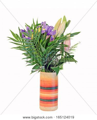 Bouquet Of Mauve Iris Flowers With Lilies Buds In A Vibrant Colored Vase, Floral Arrangement, Close