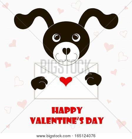 Typography banner Happy Valentine's day, black and white cartoons dog with envelope, red hearts, stock vector illustration
