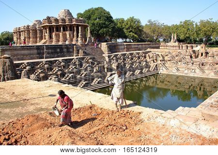 MODHERA, GUJARAT, INDIA - DECEMBER 17, 2013: Sun Temple