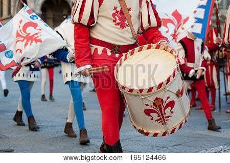 The traditional drummer procession during an historical reenactment in Florence