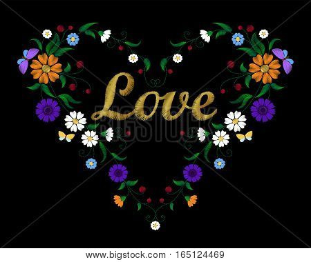 Golden Embroidery Flower Heart With Lettering Word Love Valentine Day