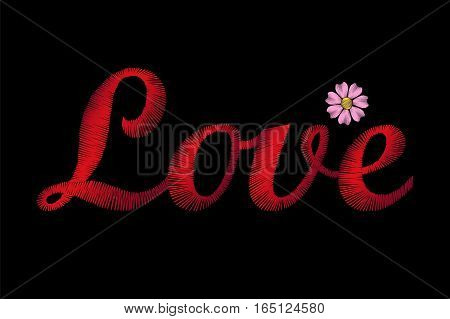 Embroidery Lettering Word Love. Red Stiches Field Daisy Valentine Day