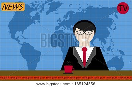 Reporter tv news vector. Tv journalism journalist on television reporter with latest news illustration