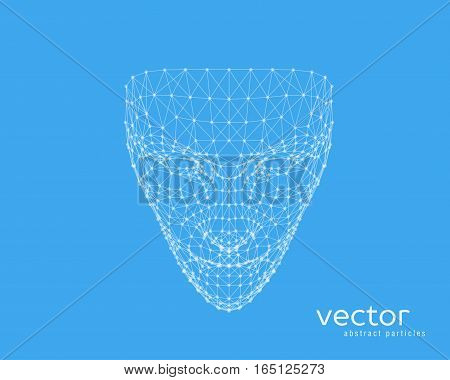 Abstract vector illustration of human face on blue background.