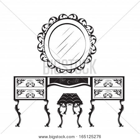 Dressing table silhouette. Vector illustration isolated on white background. Vintage Gothic style dressing table and chair furniture. Hermitage decorated mirror frame