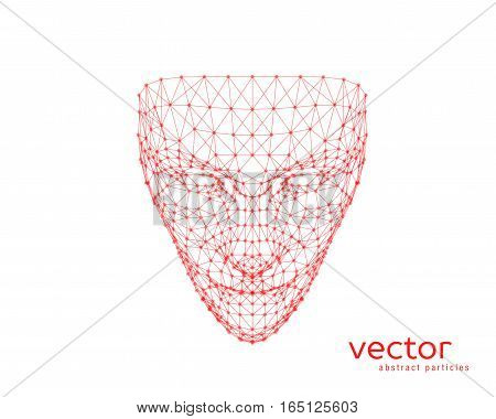 Abstract vector illustration of human face on white background.