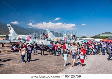 CHIANG MAI THAILAND - JANUARY 14: Military show at Wing41 Airbase on Thai Children's Day on January 14 2017 in Chiang mai Thailand.