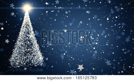 Christmas Tree With Shining Light, Falling Snowflakes