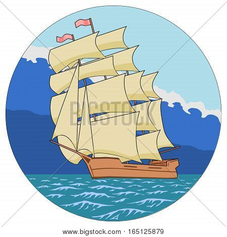 Sailing ship. Sailing ship in the sea away from the storm