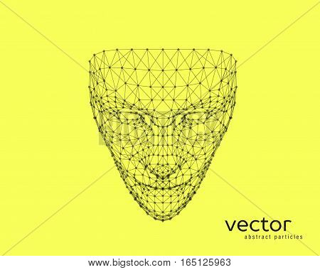 Abstract vector illustration of human face on yellow background.
