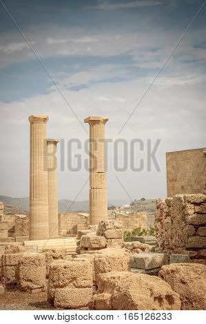 close view of Athena temple in Acropolis of Lindos Greece
