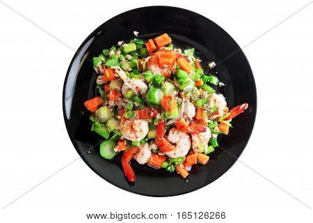 Spicy Kale Branch with Shrimp Salad on the black dish. Thai spicy food. Isolated on white with work paths.