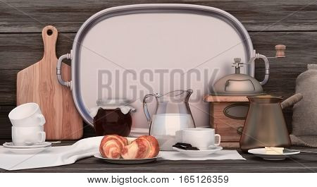 Cup of coffee with chocolate and related elements on wooden background. Still life with coffee. 3D illustration