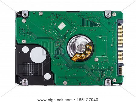 Hard Disk From Printed Circuit Board Isolated On White