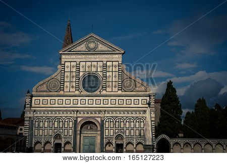 Church at dusk in the city of Florence Italy