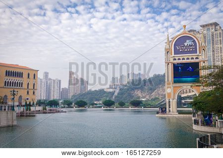 Macao China - December 9 2016: Venetian river side, The Venetian is a luxury hotel and casino resort in Macao, China.
