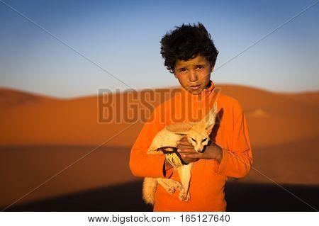 Merzouga Morocco - April 12 2016: Berber child holding a desert fox poses in the Erg Chebbi dunes in Morocco.