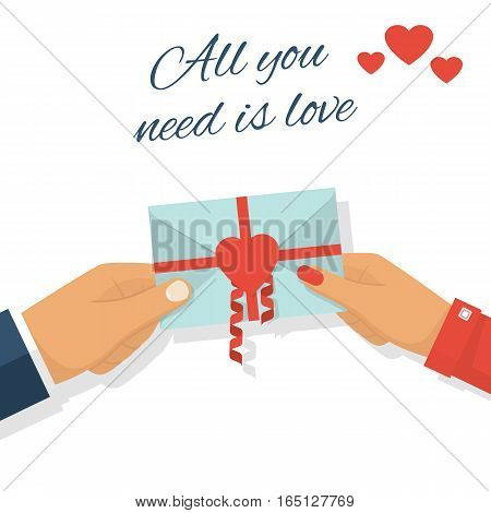 Man gives love letter in hands woman. All you need is love. Letter decorated with ribbons and red heart, symbol. Love note. Celebrating Valentine's Day. Vector flat design.