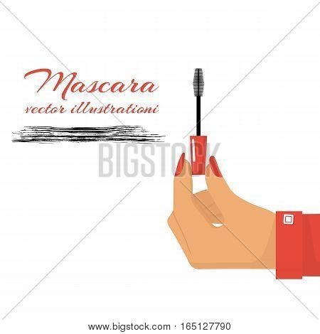 Hand holding mascara wand. Cosmetic concept. Mascara. Vector illustration flat design. Isolated on white background. Eyelash brush.