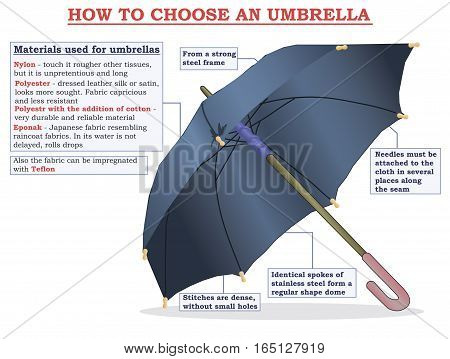 Umbrella: how to choose. Education info graphic.
