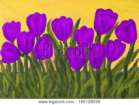 Hand painted picture, oil painting, purple tulips on yellow sky.