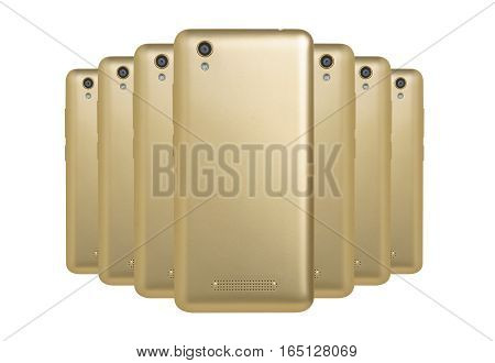 several mobile phones golden arranged one behind the other standing