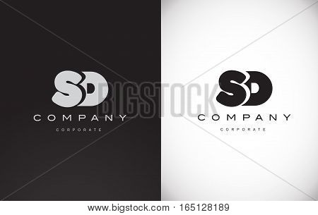 Alphabet letter S D black background white grey vector logo icon sign design template