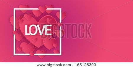 Valentine Day Gift Card Holiday Love Heart Shape Banner With Copy Space Flat Vector Illustration
