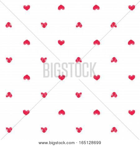 Seamless pattern with fingerprint hearts. Hand drawn textured objects with rough edges. Pink thumbprint shapes on white background. Endless trendy backdrop for fabric, wallpaper, wrapping