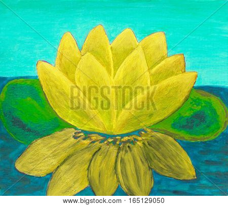 Yellow water lily on water, illustration oil painting.