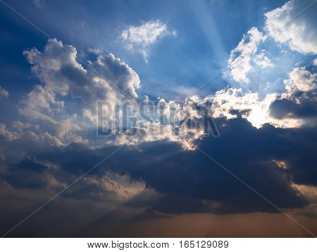 The Sky and sunbeam behind the cloud