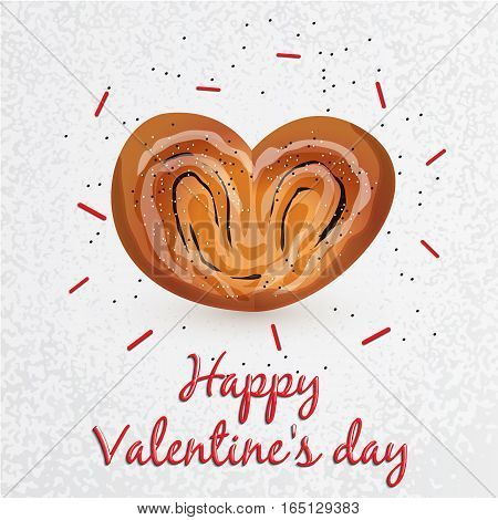 Greeting card. Valentines Day. Series with sweets. Bun with poppy seeds in a heart shape in the center. Set for your vector design. It can be used as a corporate identity bakery or cafe