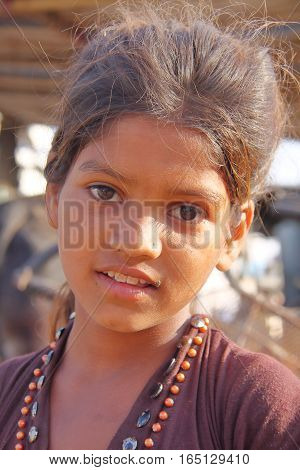 BHUJ, GUJARAT, INDIA - DECEMBER 20, 2013: Portrait of a little girl