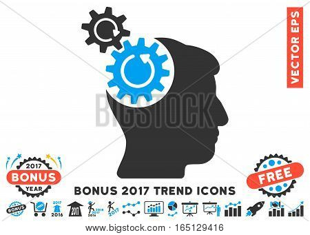 Blue And Gray Head Cogs Rotation pictogram with bonus 2017 trend clip art. Vector illustration style is flat iconic bicolor symbols white background.