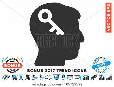 Blue And Gray Head Key pictograph with bonus 2017 trend pictograms. Vector illustration style is flat iconic bicolor symbols white background.