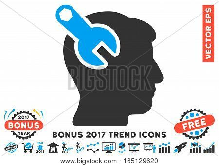 Blue And Gray Head Neurology Wrench pictograph with bonus 2017 year trend pictograph collection. Vector illustration style is flat iconic bicolor symbols white background.
