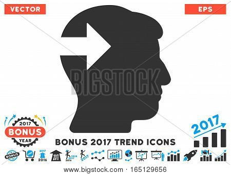 Blue And Gray Head Plug-In Arrow pictogram with bonus 2017 year trend clip art. Vector illustration style is flat iconic bicolor symbols white background.