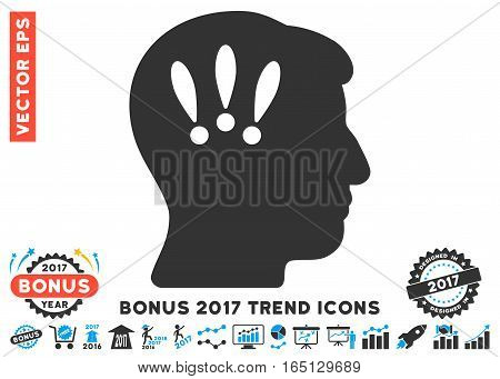 Blue And Gray Head Problems icon with bonus 2017 year trend pictograph collection. Vector illustration style is flat iconic bicolor symbols white background.