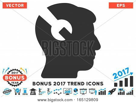 Blue And Gray Head Surgery Wrench icon with bonus 2017 year trend icon set. Vector illustration style is flat iconic bicolor symbols white background.