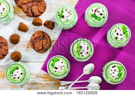 Mint Cheesecake Mousse Dessert Topped With Whipped Cream