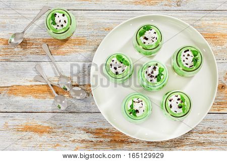 Mint Cheesecake Mousse Chilled Dessert Topped With Whipped Cream